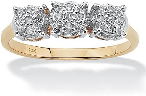 Round White Diamond 10k Yellow Gold Cluster Ring (.10 cttw, HI Color, I3 Clarity)