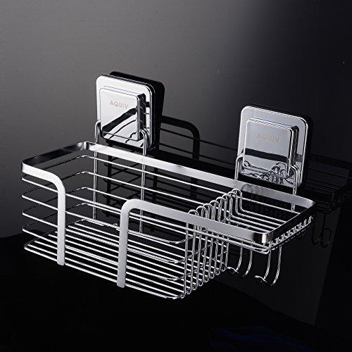 Acero inoxidable ducha caddy organizador de baño cesta para champú con soporte de jabón y ganchos
