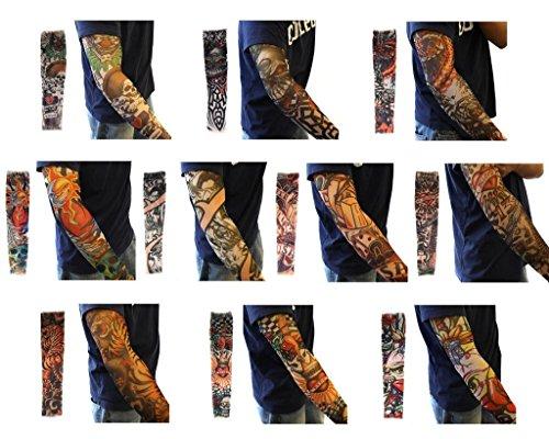 EPGW Fake Temporary Fashion Halloween Slip-On Art Arm Tattoo Sleeves, 10 Pack (Fake Tattoo)
