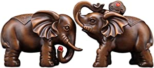 LINGS A Pair of Feng Shui Elephant Statues Decor Chinese Resin Imitation Wood Figurines Home and Office,Attract Wealth and Good Luck,Best Gift,Brown/Large