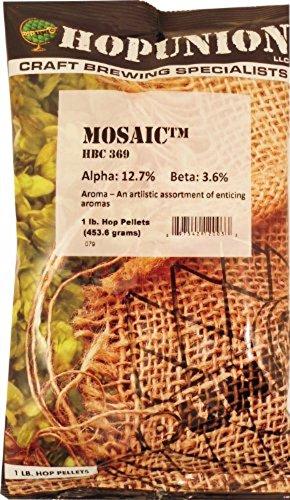 Home Brew Ohio HOZQ8-1183 LD Carlson company Mosaic Hop Pellets 1LB. Alpha:13.6% Beta 3.6%, Silver
