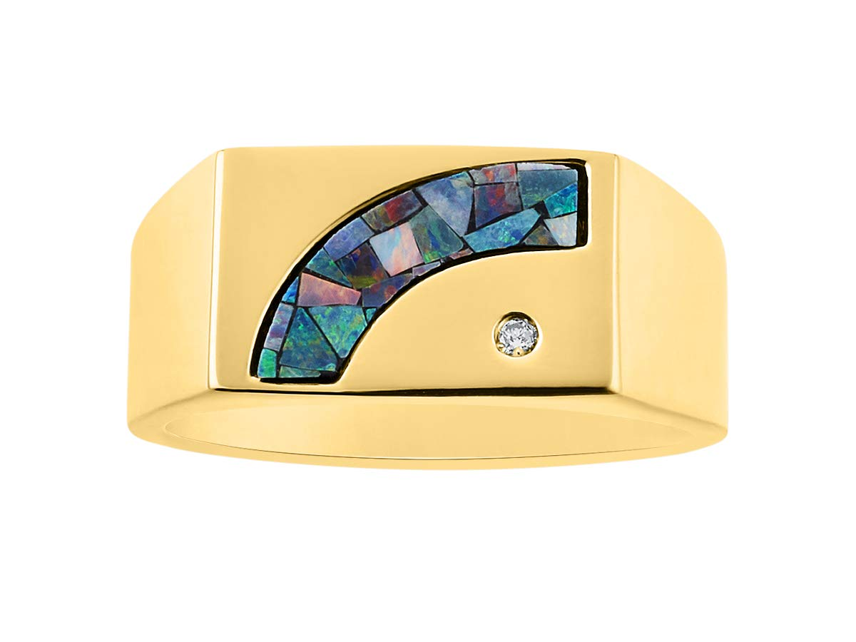 Exotic Mosaic Opal & Diamond Ring Set in Yellow Gold Plated Silver