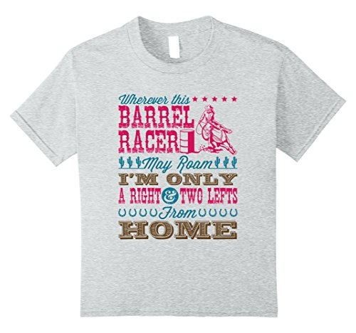 Kids Barrel Racing Shirts Gifts -- Wherever This Barrel Racer 10 Heather Grey
