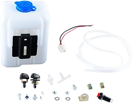 Universal Car Windshield Washer Pump Washer Fluid Reservoir Bottle Kit with Pump Jet Button SwitchUniversal designed to fit most washer pump
