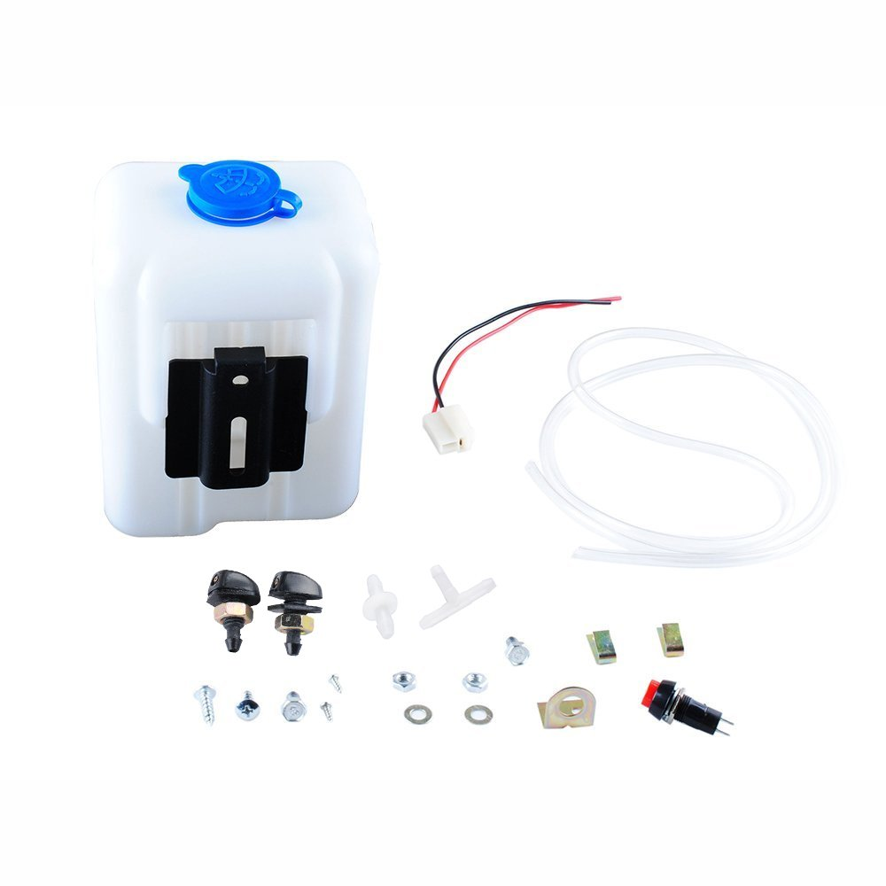 Wadoy Universal Windshield Washer Pump Reservoir Kit 99300 Fluid Reservoir Tank Bottle with Pump