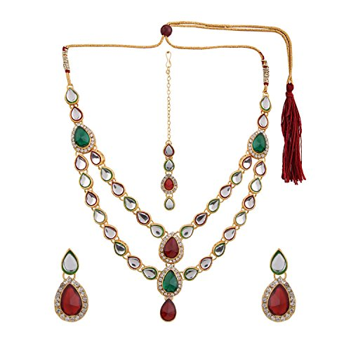 Efulgenz Indian Layered Traditional Bollywood 14 k Gold Plated Faux Kundan Bridal Necklace Earrings Maangtika Wedding Jewelry ()