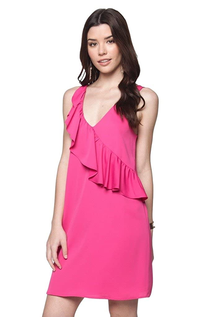 Everly Womens V Neck Sleeveless Above Knee Shift Dress with Ruffle Front