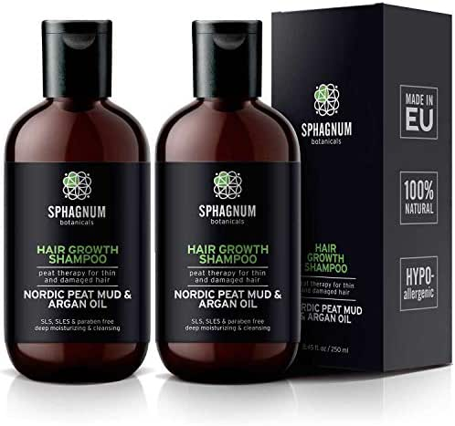 Argan Oil Shampoo 2 Pack - 16.9 oz Natural Hair Loss Treatment with Effective Peat Mud for Thin and Damaged Hair. No SLS/Parabens. Powerful Organic DHT Blocker. Best Shampoo Set for Hair Growth.…