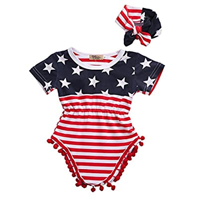 2pcs Newborn Baby Boy Girl USA Flag Pattern Tassel Balls Summer Romper +Headband