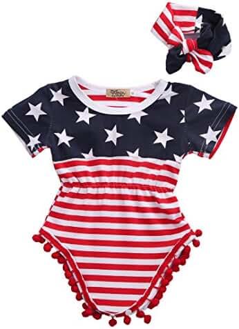 2pcs Newborn Baby Boy Girl USA Flag Pattern Tassel Balls Summer Romper +Headband