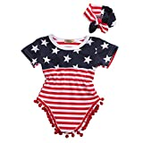 2pcs Newborn Baby Boy Girl USA Flag Pattern Tassel Balls Summer Romper +Headband (6-12 M, USA Flag)