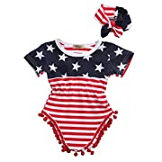2pcs Newborn Baby Boy Girl USA Flag Pattern Tassel Balls Summer Romper +Headband (0-3 M, USA Flag)