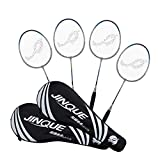 Jinque 4-Player Badminton Rackets Set of 4 Beginners Practice Racket Badminton Lightweight Racquets with Carrying Bag for Adults, Kids - Training and Entertainment