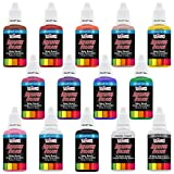 U.S. Art Supply 12 Color Set of Primary Opaque Colors Acrylic Airbrush, Leather & Shoe Paint Set with Reducer & Cleaner 1 oz. Bottles