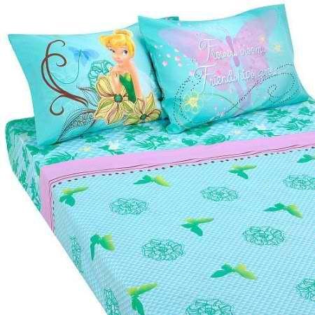 Disney Fairies Tinkerbell Butterfly Glow 4pc Full Size Premium Sheets Set (Tinkerbell Sheet Set)