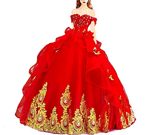 - Modeldress Off Shoulder Applique Tulle Ball Gown Beaded Princess Quinceanera Evening Prom Dress Red US8