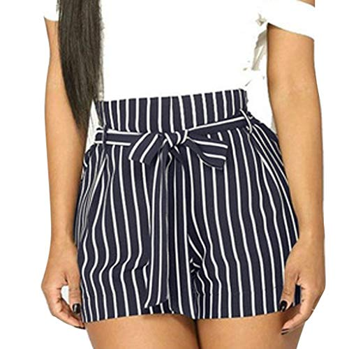 ZEFOTIM Casual Pants for Women Stripe Printing Pocket High Waist Bandage Easy Elastic Casual Short Pants(Blue,Small) (00 Tie)