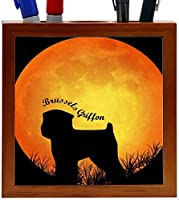 Rikki Knight Brussels Griffon Dog Silhouette by Moon Design 5-Inch Wooden Tile Pen Holder (RK-PH8465)