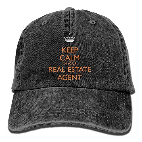 Price comparison product image Jane Commons Mens Womens Baseball Cap Keep Calm I'm Your Realtor Washed Jean Snapback Cap for Men