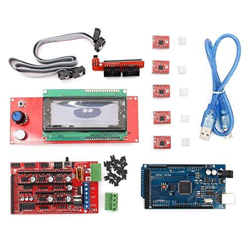 3D Printer & Supplies - 3D Printer Module Board - Ochoos Ramps 1.4 + Mega2560 + A4988 + 2004LCD Controller 3D Printer Kit for Arduino Reprap