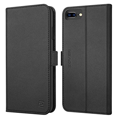iPhone 8 Plus case iPhone 7 Plus case ZOVER Genuine Leather Wallet Case with RFID Blocking Kickstand Feature Card Slots & ID Holder and Magnetic Clasps for iPhone 7 Plus iPhone 8 Plus Black