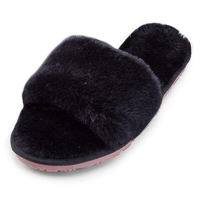 9ca75da75a1974 Aiweijia Pantoufles Femmes en Coton Chaussures Anti-dérapantes à Bout Ouvert,  Chaudes, Dames