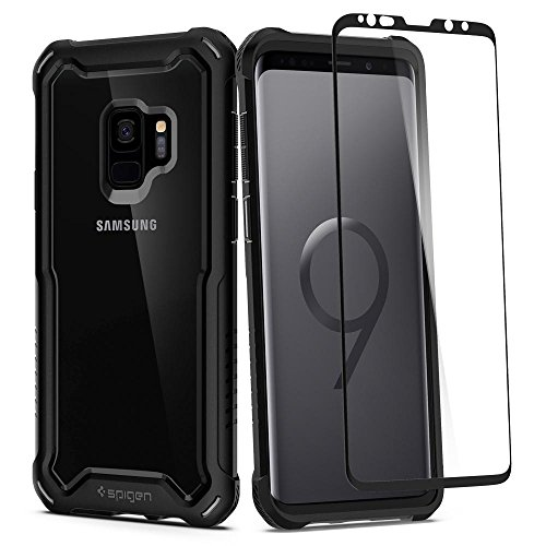 Spigen Hybrid 360 Designed for Samsung Galaxy S9 Case (2018) Glass Screen Protector Included - Black ()
