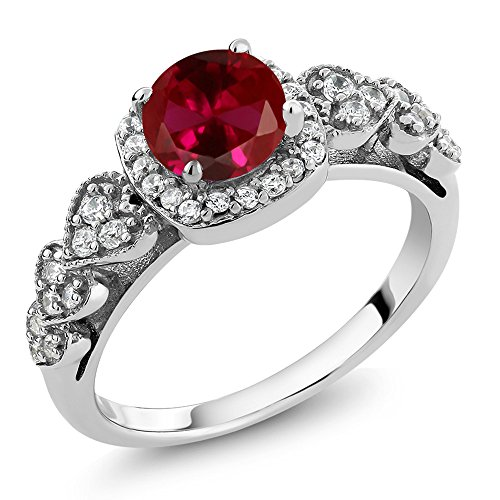 (Gem Stone King 1.32 Ct Round Red Created Ruby 925 Sterling Silver Ring (Size 5))