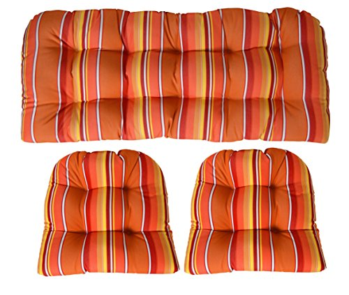 (Sunbrella Dolce Mango 3 Piece Wicker Cushion Set - Indoor/Outdoor Wicker Loveseat Settee & 2 Matching Chair Cushions - Orange. Red & Yellow Stripe)