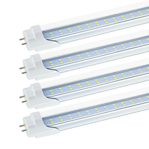 40 Lumens Led - T8/T10/T12 4FT LED Tube Light Bulbs, 24W JESLED Dual-Row LED Fluorescent Bulbs (40-65W Equivalent), 6000K Cool White 3000 Lumens, Clear Cover, Ballast Bypass (4-Pack)