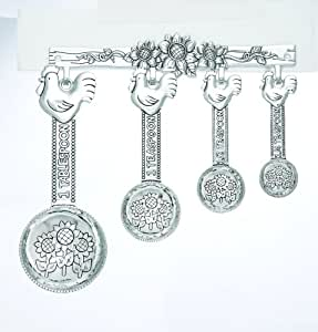 Ganz Measuring Spoons with Rack - Roosters