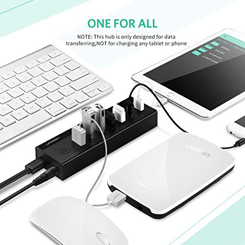 UGREEN 7-Port USB 3.0 Hub with 5V 2A AC Power Adapter for Mac, MacBook Pro Air, HP and Dell Laptop, USB Data Hub 3.0 Splitter Adapter with Power Switch and 3FT USB Cable by UGREEN (Image #2)