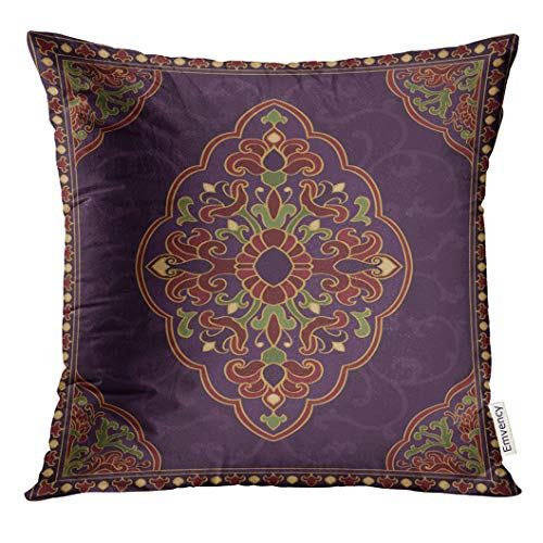 Emvency Throw Pillow Cover Oriental Abstract Purple Coverlet Shawl and Any Ornamental Colorful Pattern with Filigree Details Decorative Pillow Case Home Decor Square 16x16 Inches Pillowcase