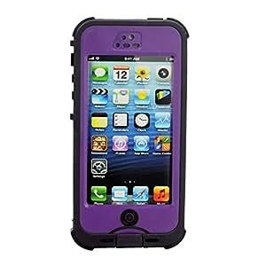 Nuud No Screen Waterproof Shockproof Snow Dirt Proof Hard Case for Apple Iphone 5 5s (Purple)