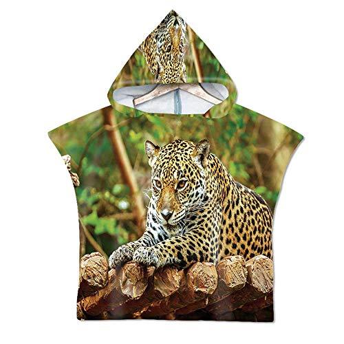 Zoo Soft Hooded Beach Bath Towel,Jaguar on Wood Floor Wildlife Animals Feline Big Cat Mammal Predator Resting for Teenagers & Children,29.5''W x 43.3''H