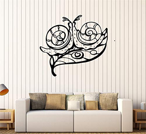 Tecvuy Vinyl Wall Sticker Decal Quote Home Decor Snails on Leafs Heart Love Home Room