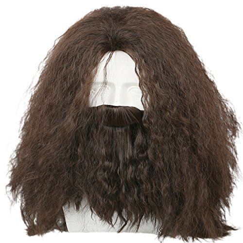 Coslive Hagrid Wig Movie Cosplay Brown Long Curly Hair Beard Costume (Long Hair Beard Halloween Costumes)