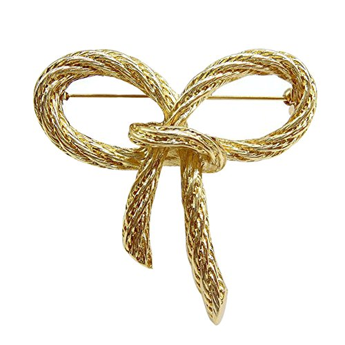 MoGist Antique Golden Bow Knot Brooches Pins Christmas Wedding Gift for Women Vintage Badge Jewelry Gift