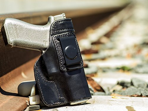 OutBags USA LS8MOSQ (BLACK-RIGHT) Full Grain Heavy Leather IWB Conceal Carry Gun Holster for Sig Sauer Mosquito 22LR. Handcrafted in USA.
