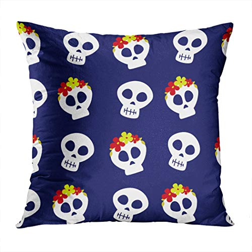 Scary Tales Halloween Day Of The Dead (Suike Throw Pillow Cover 16x16 Inch Square Day of The Dead Dia De Los Halloween Devil Scary Ghosts Hidden Zipper Home Sofa Decorative Cushion Case Polyester Two Sides Printed)