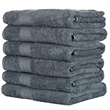 HomeLabels Cotton Soft Spa Bath Towels, Ultra Soft Bath Towel, Home Gym Spa Hotel, Ideal for Daily use Highly Absorbent Hotel spa Bathroom Towel Collection   22x44 Inch   Set of 6 Grey