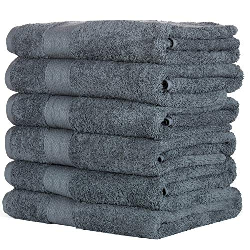 HomeLabels Cotton Soft Spa Bath Towels, Ultra Soft Large Bath Towel, Home Gym Spa Hotel, Ideal for Daily use Highly Absorbent Hotel spa Bathroom Towel Collection | 22×44 Inch | Set of 6 Grey