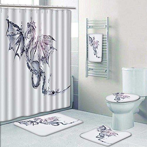 VROSELV 5 Piece Bathroom Set Includes Shower Curtain Linera Blue Fly Dragon