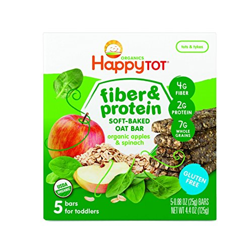 Happy Tot Organic Fiber & Protein Soft-Baked Oat Bars, Organic Toddler Snack, Apple & Spinach, 5 Count