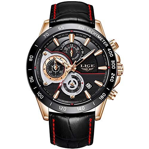 LIGE Mens Watches Chronograph Waterproof Sport Military Analog Quartz Watch Gents Leather Strap Black Dial Fashion Casual Dress Wrist Watch Rose Gold Black