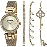 Anne Klein Women's Swarovski Crystal Accented Gold-Tone Mesh Watch and Bracelet Set