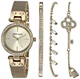 Anne Klein Women's Swarovski Crystal Accented Gold-Tone Mesh Watch and Bracelet Set