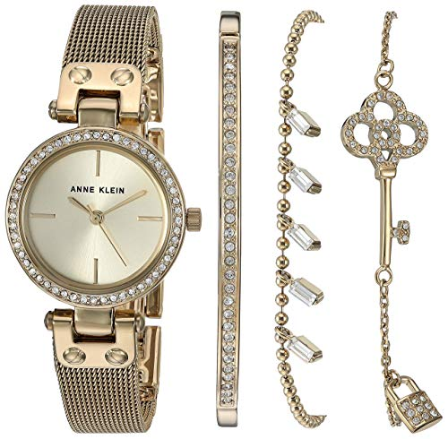 - Anne Klein Women's Swarovski Crystal Accented Mesh Watch and Bracelet Set