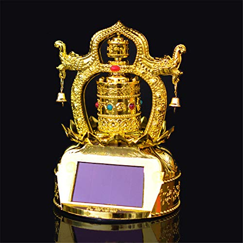 zhm ABS Gold Plated Double Dragon Solar Prayer Wheel for Car Household,No Batteries Pray for Peace Decoration