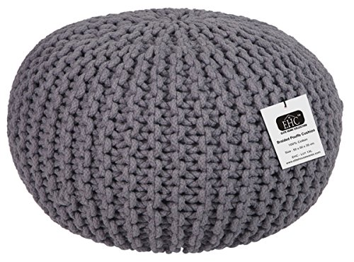-[ EHC 100 Percent Cotton Handmade Double Knitted Round Foot with Stool Braided Cushion Pouffe, Smo
